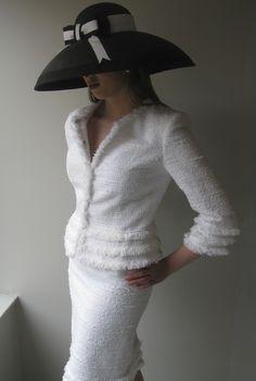 White fringed tweed jacket and skirt with Edwina Ibbotson hat
