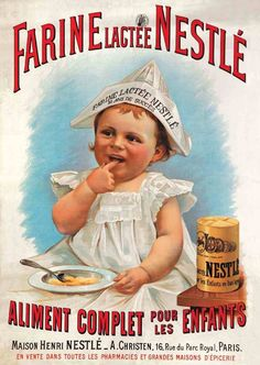 Old poster-ad for Nestlé baby food Vintage French Posters, Pub Vintage, Images Vintage, Vintage Advertising Posters, Old Advertisements, Vintage Labels, Vintage Cards, Vintage Signs, Vintage Prints