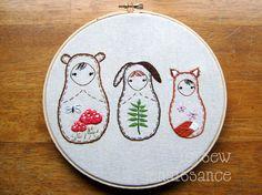 Embroidery PDF Pattern Matryoshka Nesting Doll Woodland Pattern. Bear, rabbit and fox friends
