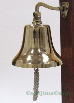"""Nautical Marine Solid Cast Brass Ships Boat Bell 8"""""""" Wall Decor"""