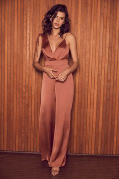 Look of Luxe Rusty Rose Satin Asymmetrical Wide-Leg Jumpsuit - Lulus Exclusive! The Lulus Look of Luxe Rusty Rose Satin Asymmetrical Wide-Leg Jumpsuit will have y - Formal Jumpsuit, Satin Jumpsuit, Wedding Jumpsuit, Jumpsuit Outfit, Summer Jumpsuit, Elegant Jumpsuit, Prom Jumpsuit, Black Jumpsuit, Jumpsuit Style