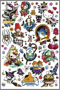 Hello Kitty tattoo flash Sanrio kerropi twin stars my melody tattoo