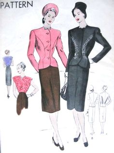 1940s Suit and Blouse Pattern Vogue 5617 Beautiful Fitted Jacket Shaped Neckline, Slim Skirt Two Hemline Styles, Surplice Blouse Day or Evening
