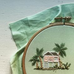 Our beach house. . . . . . #welcomejuniper #wip #dspink #embroidery #eigcolor #craftastherapy #teenytiny #embroideryinstagram…