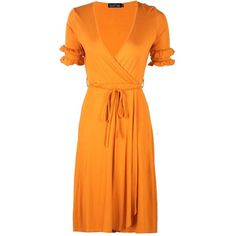 Boohoo Nicole Double Frill Sleeve Wrap Midi Dress (1.300 RUB) ❤ liked on Polyvore featuring dresses, bodycon dresses, orange maxi dresses, wrap midi dress, party maxi dresses and bodycon maxi dress