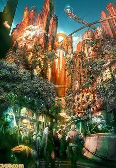 Final Fantasy Environment Concept Art The final fantasy theme Arte Final Fantasy, Fantasy Concept Art, Fantasy City, Fantasy Places, Fantasy World, Final Fantasy Artwork, High Fantasy, Fantasy Art Landscapes, Fantasy Landscape