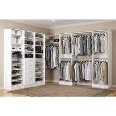 Home Decorators Collection Calabria Walk In 15 in. D x 243 in. W x 84 in. H Glacier White Wood Closet System Calabria Walk In 15 in. D x 243 in. W x 84 in. H Glacier White Wood Closet System Walk In Closet Design, Bedroom Closet Design, Master Bedroom Closet, Closet Designs, Bedroom Closets, Bathroom Closet, Master Closet Layout, Walk In Closet Ikea, Closet Mirror
