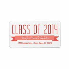 Proud Banner Graduation Labels - Salmon