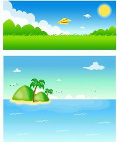 Sea grass and landscape material paper airplane vector