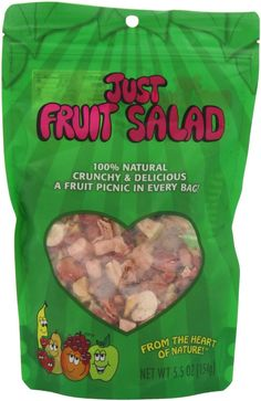 Just Tomatoes Just Fruit Salad, 5.5 Ounce Large Pouch on Amazon: Freeze-dried pears, peaches, apples, bananas, strawberries, and red grapes