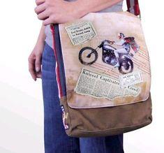 5f1ed856de7a Evel Knievel Legacy Canvas Messenger Bag Purse Motorcycle Rockabilly