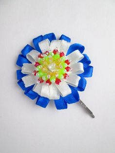 Miss Blue Lagoon White & Blue Beaded Flower Hair by MadiReShop Flower Hair, My Flower, Flowers In Hair, Satin Ribbon Flowers, Blue Lagoon, Blue Beads, Handmade Flowers, Hair Pins, Hand Sewing