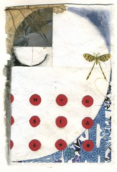 The day before we met    One of a kind mixed media collage on artist's made paper.  5x7 inches