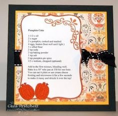 Pumpkin Cake - Recipe Card