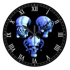 See, Hear, Speak No Evil Skull Roman Numeral Clock  Halloween decoration for the home.  http://www.zazzle.com/see_hear_speak_no_evil_skull_roman_numeral_clock-256867902653885299?rf=238271513374472230  #halloween  #halloweendecoration