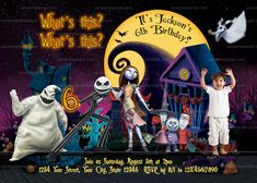 Nightmare Before Christmas Invitation, Halloween Party, Jack Skellington Invite Moana Party Invitations, Halloween Party Invitations, Christmas Invitations, Birthday Invitations, Invites, Funny Christmas Cards, Christmas Humor, Holiday Cards, Transformer Party
