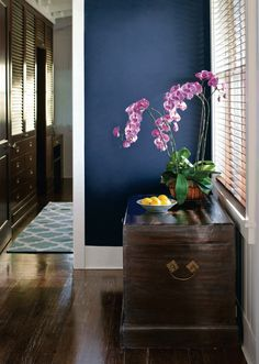 Van Deusen Blue in Natura (Benjamin Moore) --> deep blue walls (accent wall?) with the white trim is really nice looking Benjamin Moore Colors, Benjamin Moore Paint, Wall Colors, House Colors, Paint Colours, Relaxing Colors, In Natura, Interior Paint Colors, Houses