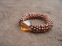 Stretchy Ring with Copper Color Swarovski by MakeMeSmileJewelry