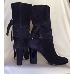 "Jimmy Choo boots (FINAL PRICE) Authentic: Blue suede, with ribbon tie detail, around boot, logo on gold tie detail, patent leather heel with 3 5/8""; boot height without heel is 8.5""; and calf circumference is 13"", please note! This are a bit smaller. This will fit perfect to a size 7.5-8. Comes with box, two dust bags. As you may see on photo in great condition. Jimmy Choo print on back heel. PRICE FIRM Jimmy Choo Shoes"