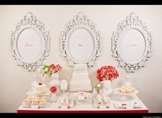 Dessert table— loooove this! and those frames, looks like the mirror in my room but I want more!