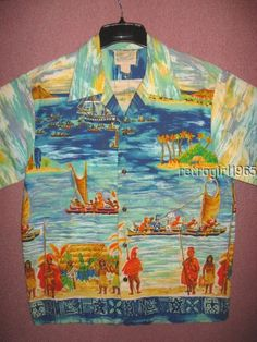 599ba054 Vtg 60s DIAMOND HEAD Hawaiian Shirt XL Tribal Tiki Tourist Ship Native Hula  Bar
