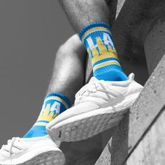 Like a bolt out of the sky Los Angeles is makin' a charge. #comingsoon2017 #repeverystep #skylinesocks