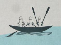 NEW 2013 Moomin fabric Sea Moomin white and light blue by tillukka