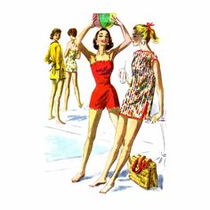 1950s Bathing Suit Beach Robe McCalls 3616 Vintage Sewing Pattern