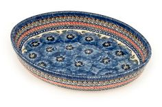 Blue Art Medium Oval Baker