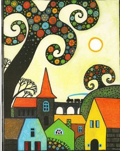 ACEO Print of Painting Abstract Folk Art Trees Houses Whimsical RYTA Flowers   eBay