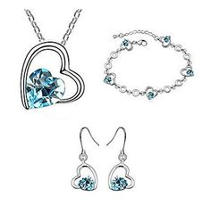 XIEXIE Jewelry Necklace Earrings Bracelet Crystal Party Alloy 1set Women Wedding Gifts  blue ** Want additional info? Click on the image-affiliate link.