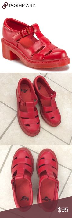 Dr. Martens Red Baby Women's T-Strap Sandal So cute!! In excellent condition. Selling because I don't wear them enough. Dr. Martens runs large, so the tag says 6, but it is a Euro 37 and fits more like a 6.5-7 Dr. Martens Shoes