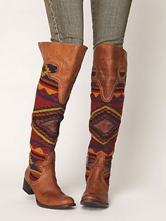 Freebird by Steven Caballero Tall Boot Mode Hippie, Hippie Boho, Hippie Shoes, Hippie Style, Bohemian, Crazy Shoes, Me Too Shoes, Boot Over The Knee, Bobbies Shoes
