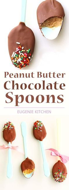 Peanut Butter Chocolate Spoons for Valentine's Day. Ready in 30 minutes. Perfect for peanut butter fans. Lazy people can make fancy chocolate gifts! (chocolate treats for kids) Beaux Desserts, Just Desserts, Delicious Desserts, Yummy Food, Chocolate Spoons, Chocolate Treats, Chocolate Peanut Butter, Chocolate Chocolate, Candy Recipes