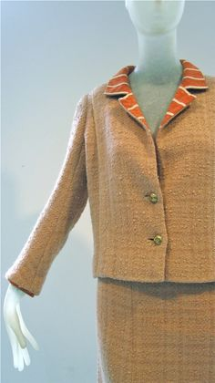 1960s Chanel haute couture tweed suit with striped jerseyI