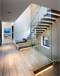 Modern Staircase Design Ideas - Search pictures of modern stairs and find design and layout ideas to motivate your very own modern staircase remodel, consisting of one-of-a-kind railings and also storage space . Contemporary Stairs, Modern Stairs, Contemporary Architecture, Escalier Design, Stair Handrail, Railings, Interior Stairs, Room Interior, House Stairs