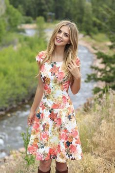 Mabel Fit & Flare Dress Pink Floral
