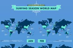 A surfing season world map with all the best surfing spots per each month. DOWNLOAD HI-RES VERSION HERE