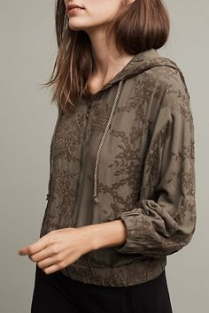 Embroidered Zip-Up Hoodie #anthropologie