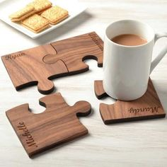 personalised set of four walnut wood coasters by made lovingly made | notonthehighstreet.com