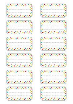 Etiquettes école à imprimer : modèle étoiles multicolores (1)