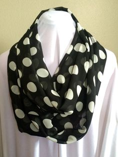 Black and White Polka Dot Chiffon Extra Long by MarieKayDesigns7 $11.00