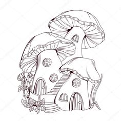 Find Coloring Book Mushroom Houses Fairy Tale stock images in HD and millions of other royalty-free stock photos, illustrations and vectors in the Shutterstock collection. Thousands of new, high-quality pictures added every day. Fairy Drawings, Pencil Art Drawings, Cool Art Drawings, Art Drawings Sketches, Mushroom Drawing, Mushroom Art, Mushroom House, Arte Grunge, Arte Indie