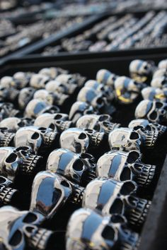 because when you're a biker chick, even your jewelry can be hardcore and covered in skulls. Biker Fashion, Biker Chick, Biker Style, Skulls, Bracelets, Jewelry, Jewlery, Jewerly, Schmuck