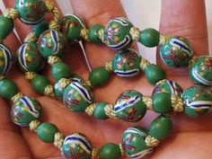 """Estate Art Deco Rare Venetian African ?. Trade Beads Knotted 16"""" Choker Necklace . but exact age is unknown. MM unknown. but the largest or colorful beads. Good condition. One bead has a chip. and some have small grazes.   eBay!"""