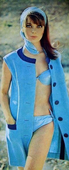 Summer blue beach fashion, Margriet (Dutch) July 1966 (image scanned by Magdorable) Vintage Swim, Vintage Mode, Bikini Vintage, Vintage Girls, 1960s Fashion, Fashion Models, Vintage Fashion, Women's Fashion, Palm Springs
