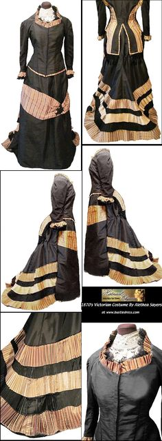 TAFFETA and SILK of Gown DINNER or Gown RECEPTION Trained Form Natural 1870s