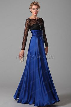 Glamorous Long Lace Sleeves Mother of the Bride Gown (26150705) #edressit #fashion #dresses #eveningdresses #motherofthebridedresses #longsleevesgowns #blue #formalgowns