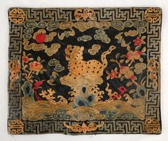 """Antique 19th C. Chinese mandarin square, leopard 3rd military silk rank badge textile, trees and flowers with bats in the border, much of the needlework in forbidden stitch.  Size : Measures 11 1/2"""" by 9 5/8""""."""