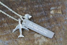 Pilot Flight Attendant Jewelry Graduation Gift Airplane Necklace 925 S – Shiny Little Blessings